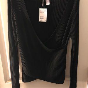 H&M Black Wrap Top
